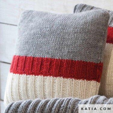 pattern knit crochet home cushion autumn winter katia 6102 34 p