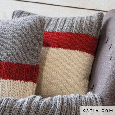 pattern knit crochet home cushion autumn winter katia 6102 35 p