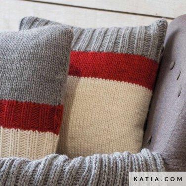 pattern knit crochet home cushion autumn winter katia 6102 35 p