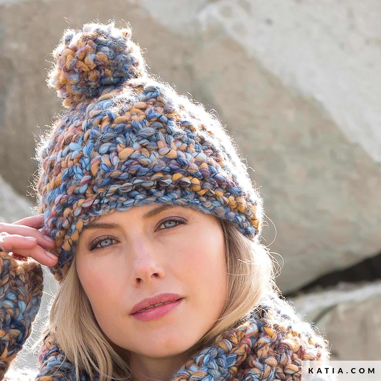 57bcc2b07e2 pattern knit crochet woman cap autumn winter katia 6102 11 g