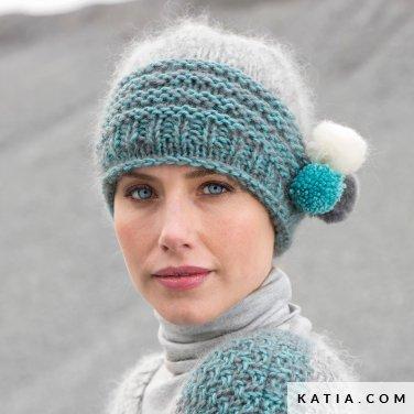 pattern knit crochet woman cap autumn winter katia 6102 21 p