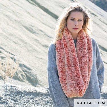 pattern knit crochet woman cowl autumn winter katia 6102 50 p