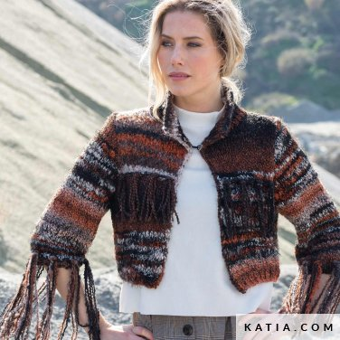 pattern knit crochet woman jacket autumn winter katia 6102 2 p