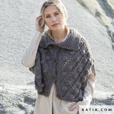 pattern knit crochet woman jacket autumn winter katia 6102 3 p