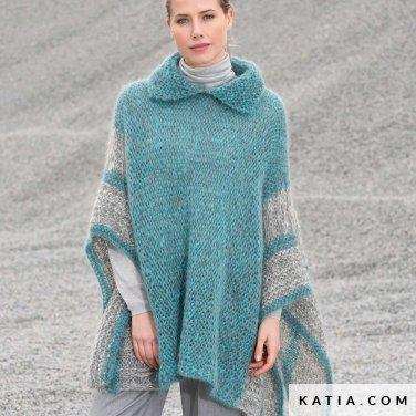 pattern knit crochet woman poncho autumn winter katia 6102 23 p