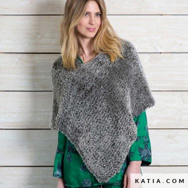 pattern knit crochet woman poncho autumn winter katia 6102 43 p