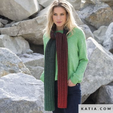 pattern knit crochet woman scarf autumn winter katia 6102 10 p