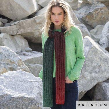 pattern knit crochet woman scarf autumn winter katia 6102 10 p