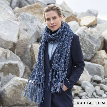 pattern knit crochet woman scarf autumn winter katia 6102 17 p