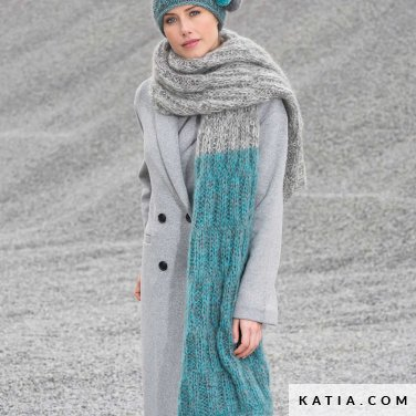 pattern knit crochet woman scarf autumn winter katia 6102 22 p