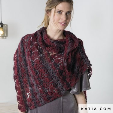 pattern knit crochet woman shawl autumn winter katia 6102 37 p