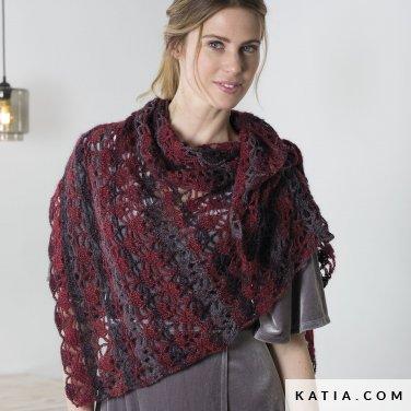 pattern knit crochet woman shawl autumn winter katia 6102 37 p