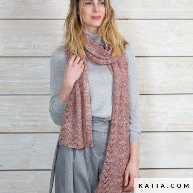 pattern knit crochet woman shawl autumn winter katia 6102 41 p