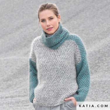 pattern knit crochet woman sweater autumn winter katia 6102 25 p