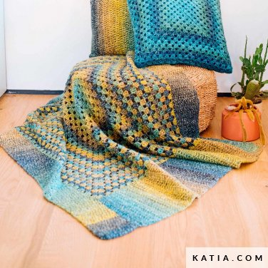 pattern knit crochet home blanket autumn winter katia 6103 9 p