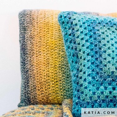 pattern knit crochet home cushion autumn winter katia 6103 7 p