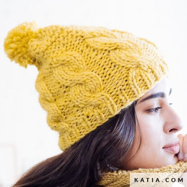 pattern knit crochet woman cap autumn winter katia 6103 10 p