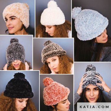 pattern knit crochet woman cap autumn winter katia 6103 15 p