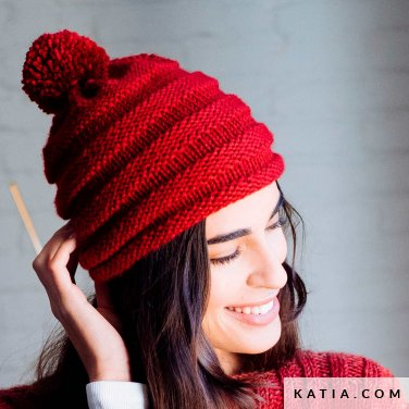 pattern knit crochet woman cap autumn winter katia 6103 37 p