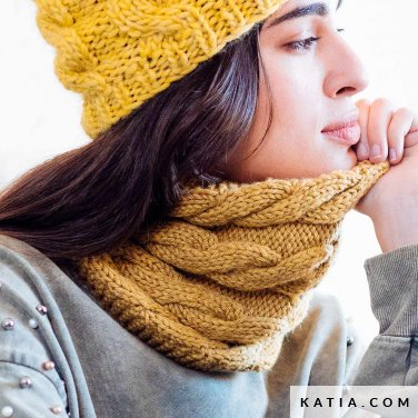 pattern knit crochet woman cowl autumn winter katia 6103 11 p
