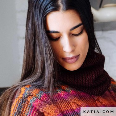 pattern knit crochet woman cowl autumn winter katia 6103 28 p