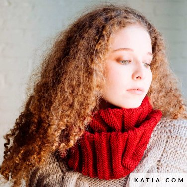 pattern knit crochet woman cowl autumn winter katia 6103 35 p