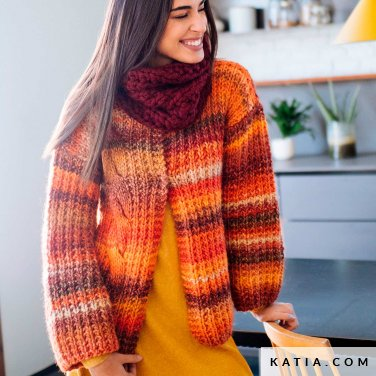 pattern knit crochet woman jacket autumn winter katia 6103 31 p