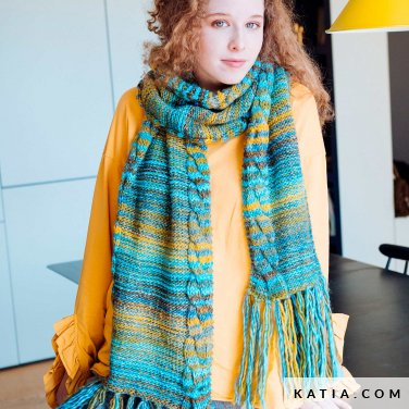 pattern knit crochet woman scarf autumn winter katia 6103 12 p