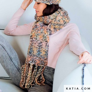 pattern knit crochet woman scarf autumn winter katia 6103 25 p