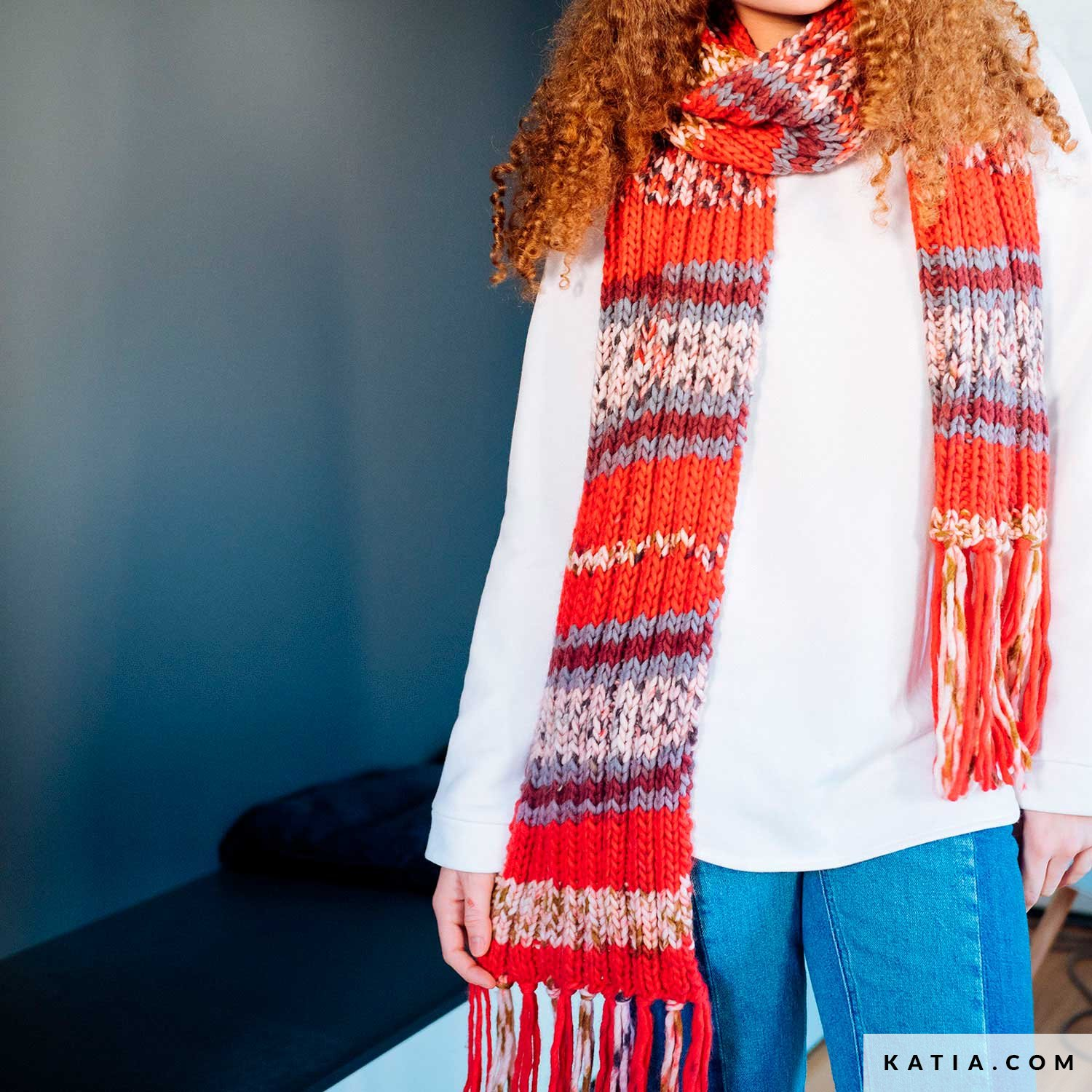 b09b8e5a5f0b4 pattern knit crochet woman scarf autumn winter katia 6103 34 g