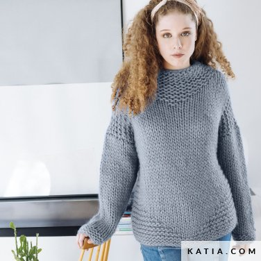 pattern knit crochet woman sweater autumn winter katia 6103 14 p