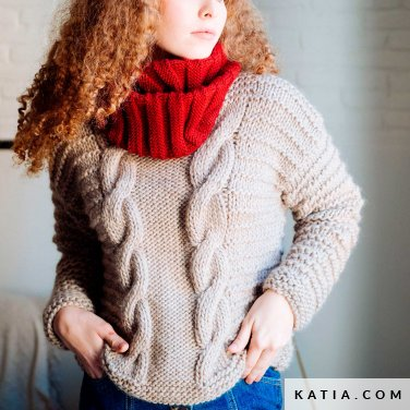 pattern knit crochet woman sweater autumn winter katia 6103 36 p