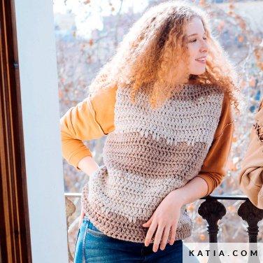 pattern knit crochet woman vest autumn winter katia 6103 17 p