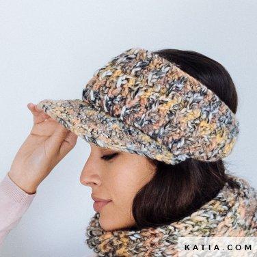 pattern knit crochet woman visor autumn winter katia 6103 24 p