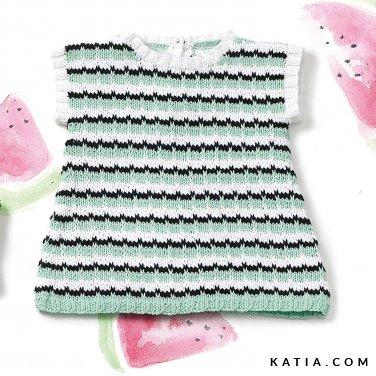patroon breien haken baby jurk lente zomer katia 6120 34 p