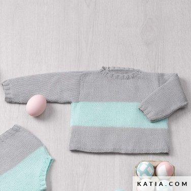 patroon breien haken baby trui lente zomer katia 6120 16 p