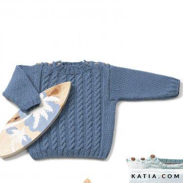 patroon breien haken baby trui lente zomer katia 6120 30 p