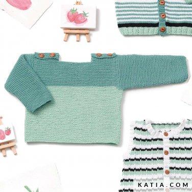 patroon breien haken baby trui lente zomer katia 6120 38 p