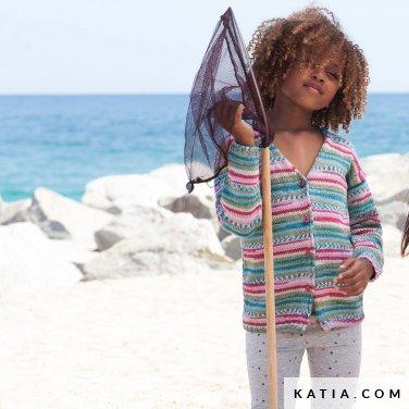 patroon breien haken kinderen jas lente zomer katia 6121 13 p