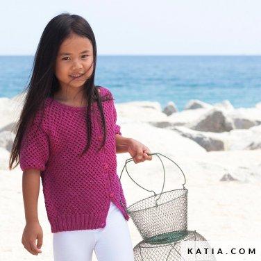 patroon breien haken kinderen jas lente zomer katia 6121 14 p