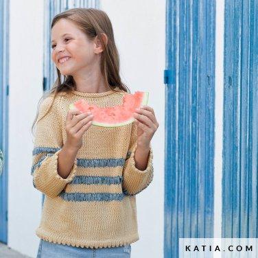 patroon breien haken kinderen jas lente zomer katia 6121 23 p
