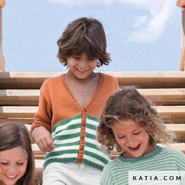 patroon breien haken kinderen jas lente zomer katia 6121 26 p