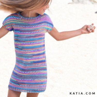 patroon breien haken kinderen jurk lente zomer katia 6121 15 p