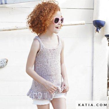 patroon breien haken kinderen topje lente zomer katia 6121 6 p
