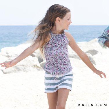 patroon breien haken kinderen topje lente zomer katia 6121 7 p