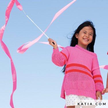patroon breien haken kinderen trui lente zomer katia 6121 11 p