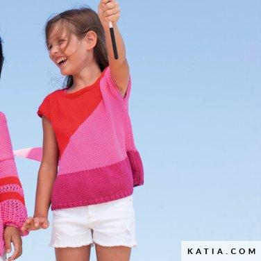 patroon breien haken kinderen trui lente zomer katia 6121 12 p