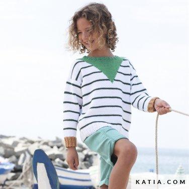 patroon breien haken kinderen trui lente zomer katia 6121 17 p