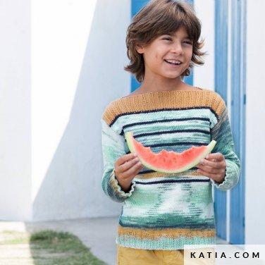 patroon breien haken kinderen trui lente zomer katia 6121 22 p