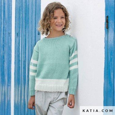 patroon breien haken kinderen trui lente zomer katia 6121 24 p